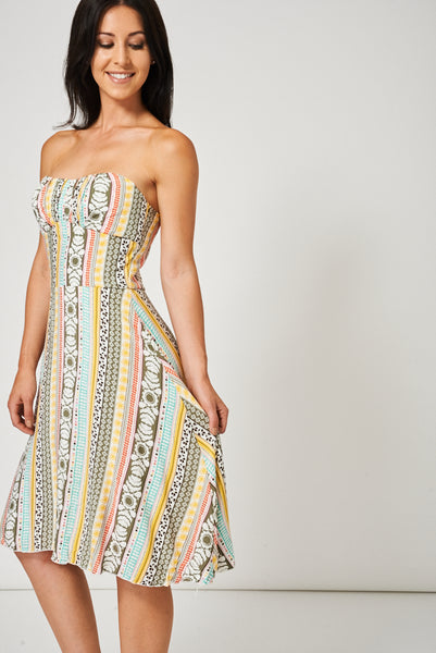Abstract Pattern Bandeau Dress