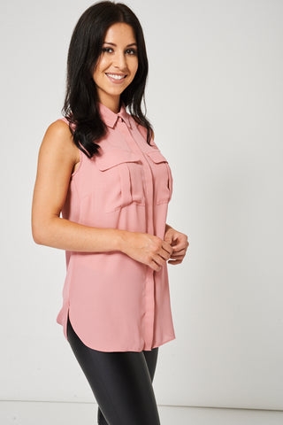 Pink Sleeveless Shirt Ex Brand