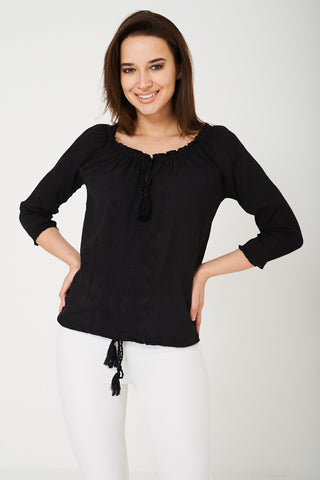 BIK BOK Embroidered Black Top
