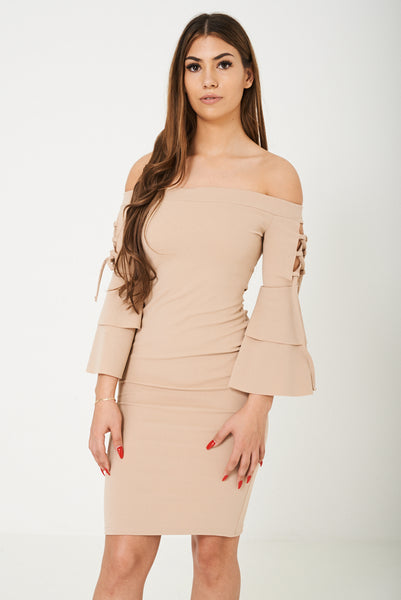 Off Shoulder Dress in Nude Ex Brand