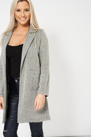 Open Front Blazer With Pockets Ex-Branded Available In Plus Sizes
