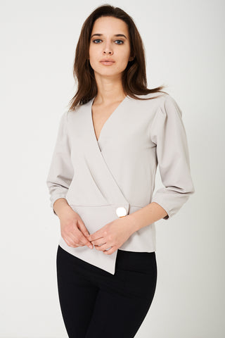 Wrap Front Top in Grey Ex Brand