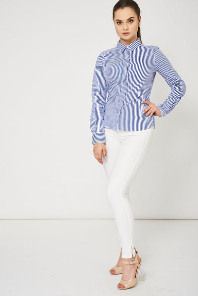 Blue And White Stripe Shirt Ex-Branded