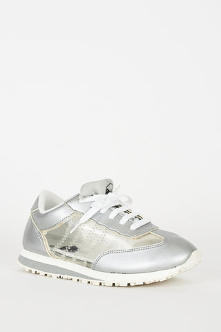 Silver Trainers With Perspex Details Ex-Branded - lovelystyles