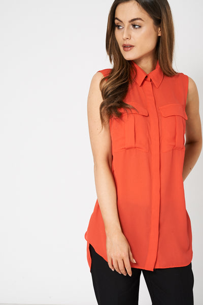 Coral Sleeveless Shirt Ex Brand