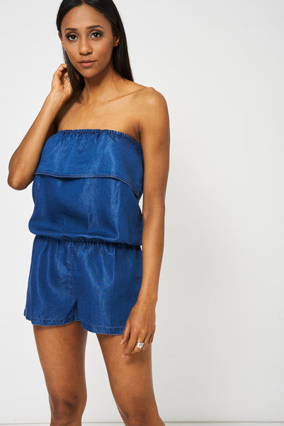 Blue Denim Look Bandeau Playsuit