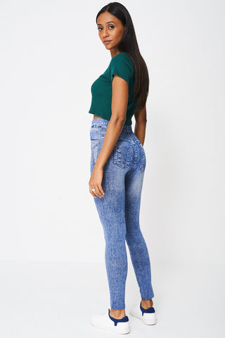 Denim Print Jeggings With Yellow Lace Patches