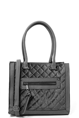 Quilted Velvet Handbag in Grey