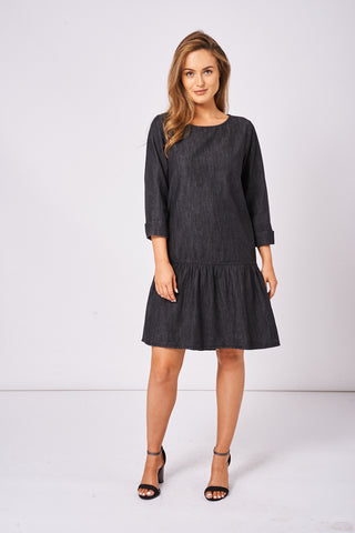 Washed Black Denim Smock Dress Ex-Branded - lovelystyles