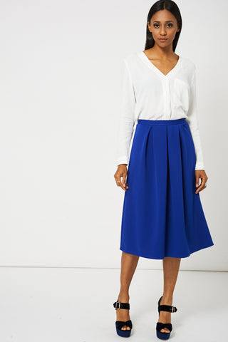 Blue Full Midi Scuba Skirt Available In plus Sizes