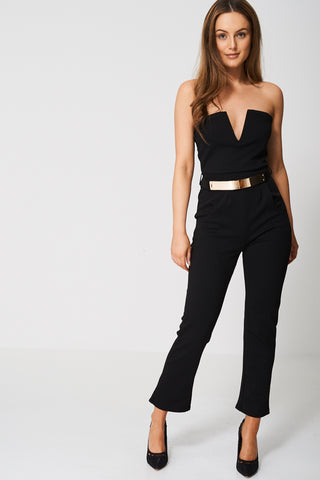 Peg Leg Jumpsuit With Belt