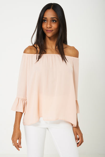BIK BOK Bell Sleeve Top in Peach