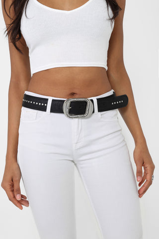 Embellished Faux Leather Belt in Black