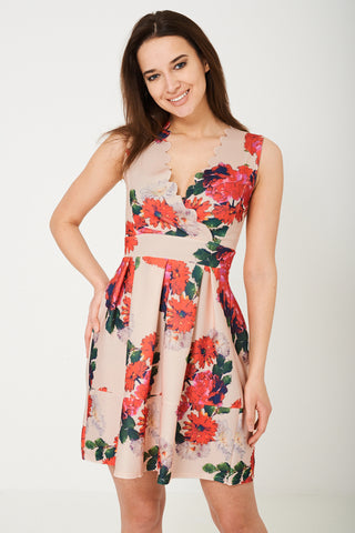 Sleeveless Skater Dress in Floral Print