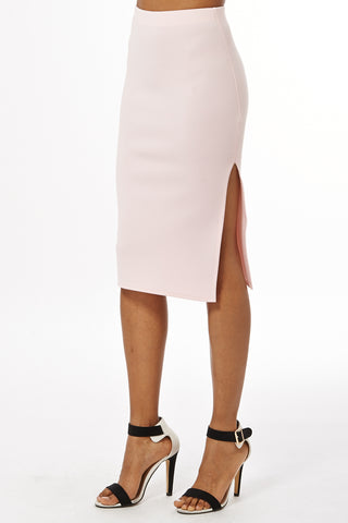 Scuba Midi Skirt With Side Split - lovelystyles