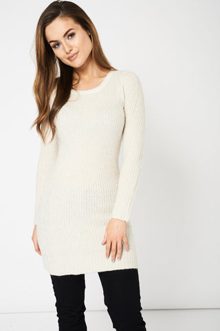 Cream Lurex Cable Knitted Jumper