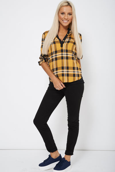 Black Skinny Jeans With Button Detail