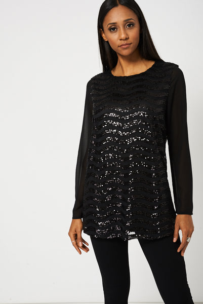 Black Sequin Tunic Top