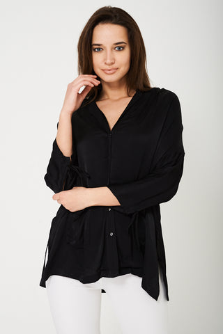 Sateen Black Shirt Ex Brand