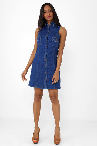 Sleeveless Denim Blue Dress Ex Brand