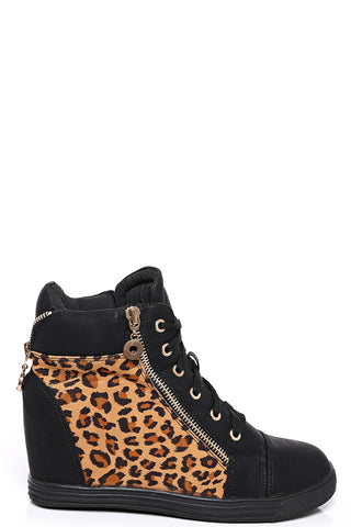 Leopard Print Wedge Trainers in Black