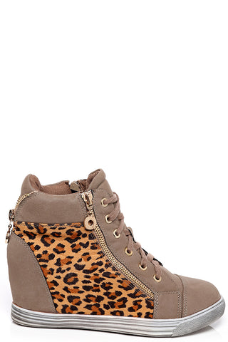Leopard Print Wedge Trainers in Khaki