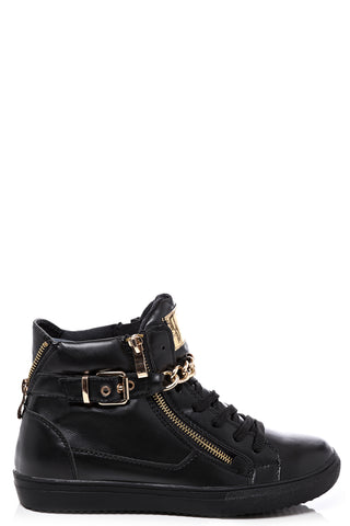 Chain & Zip Detail Black Trainers
