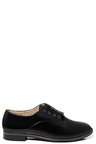 Zip Front Patent Brogues In Black