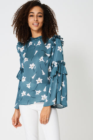Blouse In Floral With Frill Detail Ex-Branded