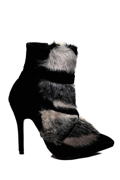 Black Stiletto Ankle Boots With Faux Fur Detail