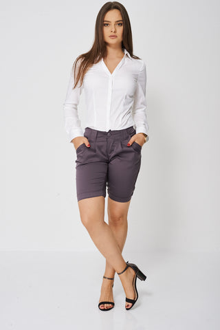 Pleated Front Shorts - lovelystyles