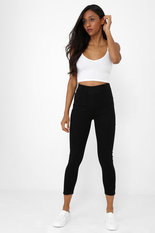SHORT High Waist Jegging in Black Ex Brand