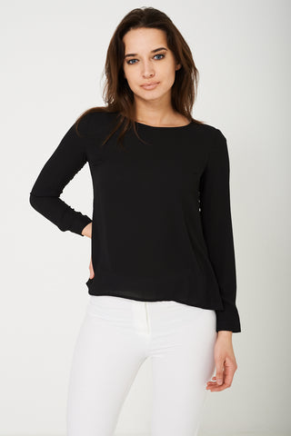 Cut Out Back Blouse in Black Ex Brand
