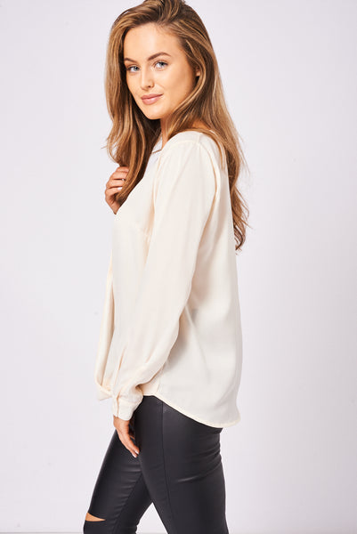 BIK BOK Crossover Top In Soft Peach
