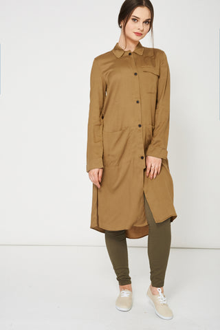 Khaki Shirt Dress Ex Brand