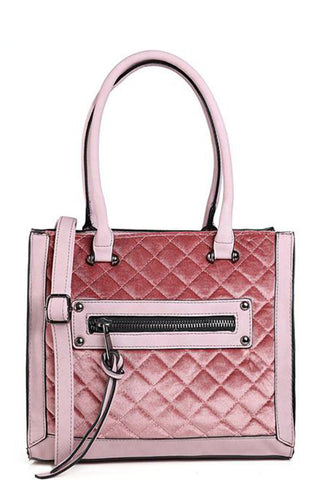Quilted Velvet Handbag in Pink