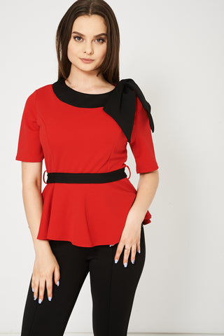 Short Sleeve Belted Top In Red Available In Plus Sizes - lovelystyles