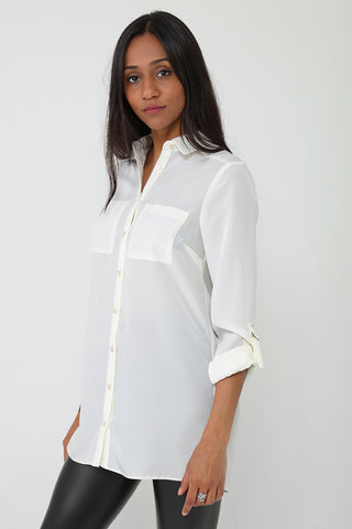 Longline Shirt in Cream Ex Brand