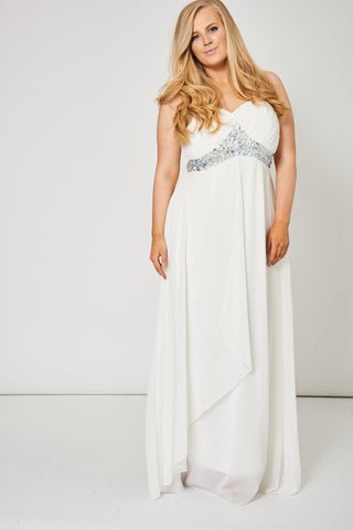 Off White Pleated Bust And Gem Prom Dress - lovelystyles