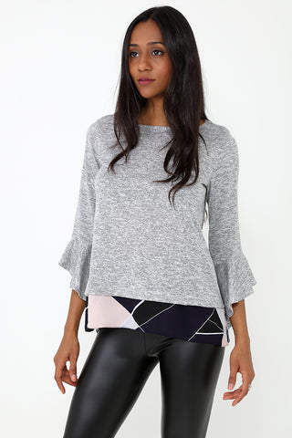 Insert Printed Hem Top in Grey