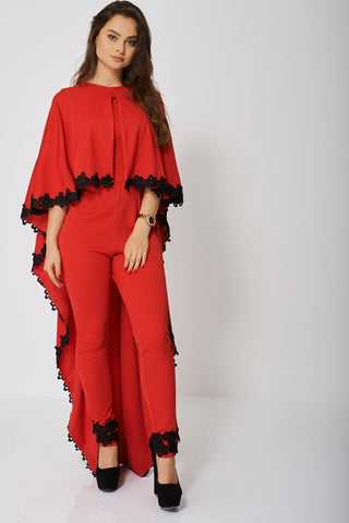 Jumpsuit and Cape Set In Red