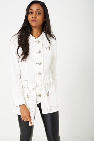 Denim Longline Jacket in Cream