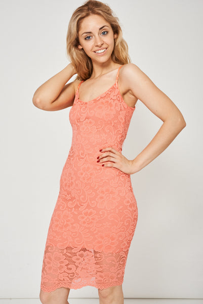 Coral Spaghetti Strap Lace Dress Ex-Branded