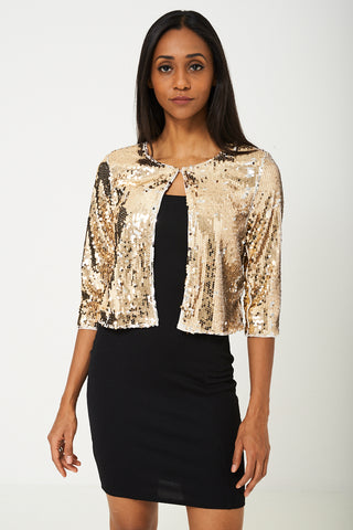 BIK BOK Gold Disco Sequin Cardigan