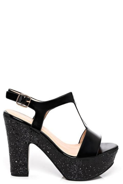 Black Sparkle Heeled Sandals