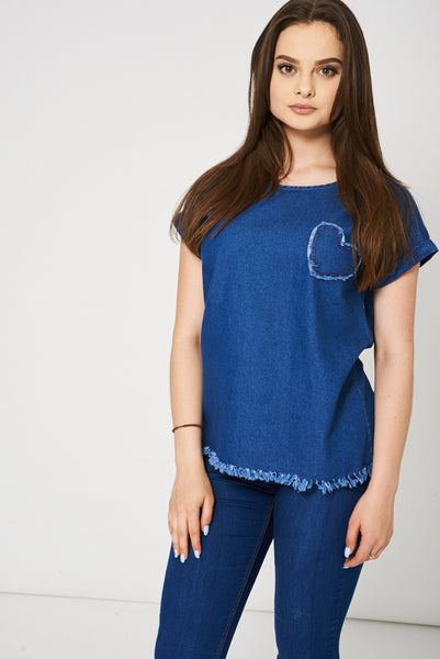 Blue Denim Top With Heart Detail Ex-Branded