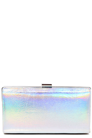 Silver Holographic Box Clutch Bag