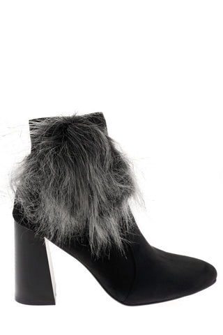 Black Faux Suede Ankle Boots With Pom Pom Detail