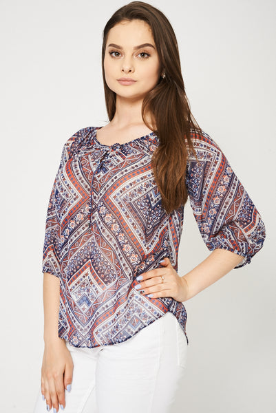 Abstract Pattern Tie Front Top