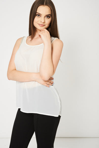 Cream Embellished Top Ex-Branded Available In Plus Sizes